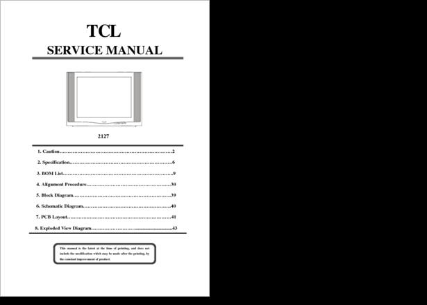 Tcl 2927 service manual