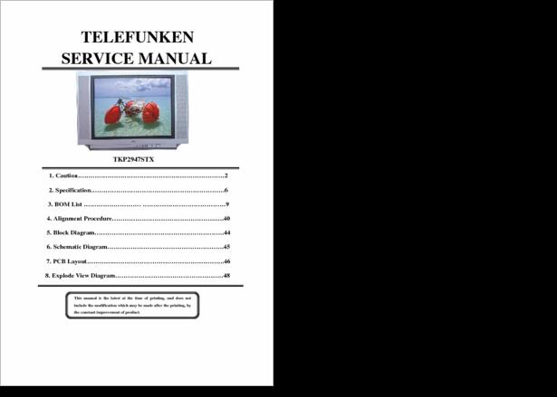 Diagrama  Manual Telefunken Telefunken Tkp2947stx