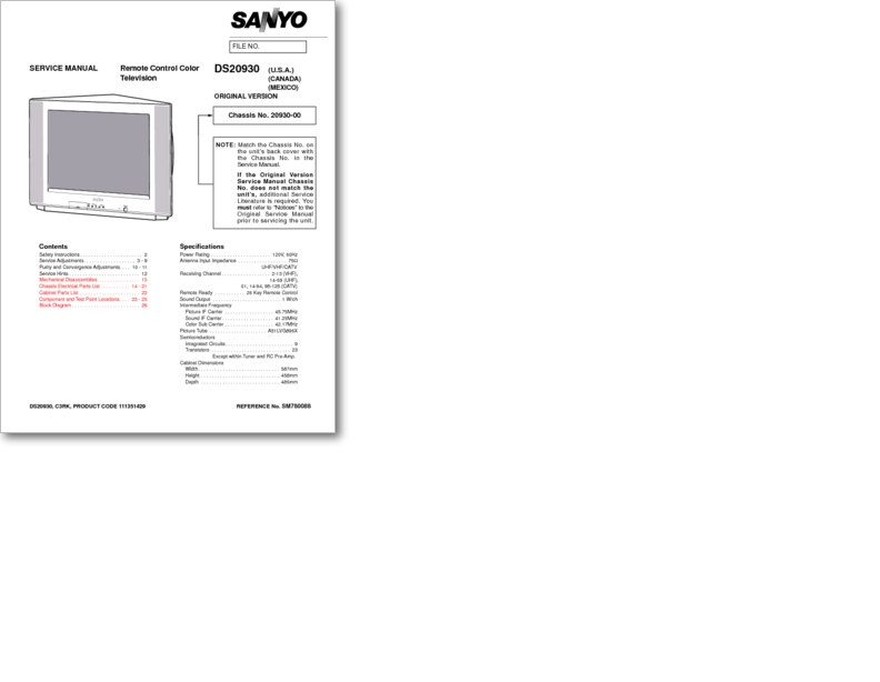 Diagrama/Manual SANYO TV DS27930 DS27930-00