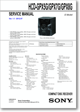 Diagrama/Manual SONY HCD-GPX5G/GPX7G/GPX8G